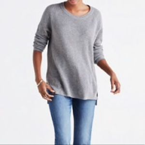 Madewell Waffle Knit Pullover Sweater Grey XXS